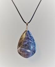 Polished Stone Necklace, Sodalite Pendant, Blue White Gemstone Crystal