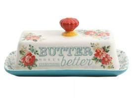Pioneer Woman Vintage Floral Butter Dish Stoneware, Roses And Red Handle... - $21.77