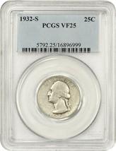 1932-S 25c PCGS VF25 - Key Date - Washington Quarter - Key Date - $150.35