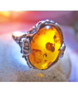 Haunted RING 14X MANIFEST WISHES MAGNIFIER MAGICK 925 AMBER WITCH CASSIA4 - $59.77