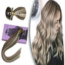 VeSunny Fusion U tip Hair Extensions Human Hair,#14 Dark Golden Blonde Highlight
