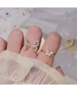 Korean 14K Real Gold Hollow Butterfly CZ Ring for Women Adjustable Open ... - $13.00