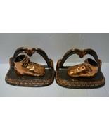 Vintage Art Deco Bookends Bronze Baby Shoes Booties Book Ends Mid-Centur... - $26.60