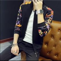 2018 New Men's Printing Slim Jacket Fashion Men's Baseball Floral Jacket Men Cas - $37.74