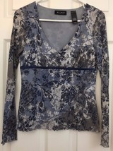 Empire Waist Top Silky Nylon Gauzy Boho Peasant Blue Floral Print Axcess... - $10.84