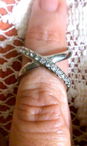 NEW Guess Silver Tone Sparkling Crystal Infinity Double Ring Size 7 8 - $5.70