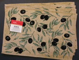 OLIVES TAPESTRY PLACEMATS Set of 4 Mediterranean Olive Branch Fabric 13x... - $14.99