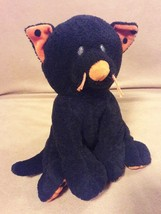 "Ty Pluffies Trickery Black Orange Halloween Kitty Cat Kitten Plush 8"" 2009 Ty Lux - $9.40"