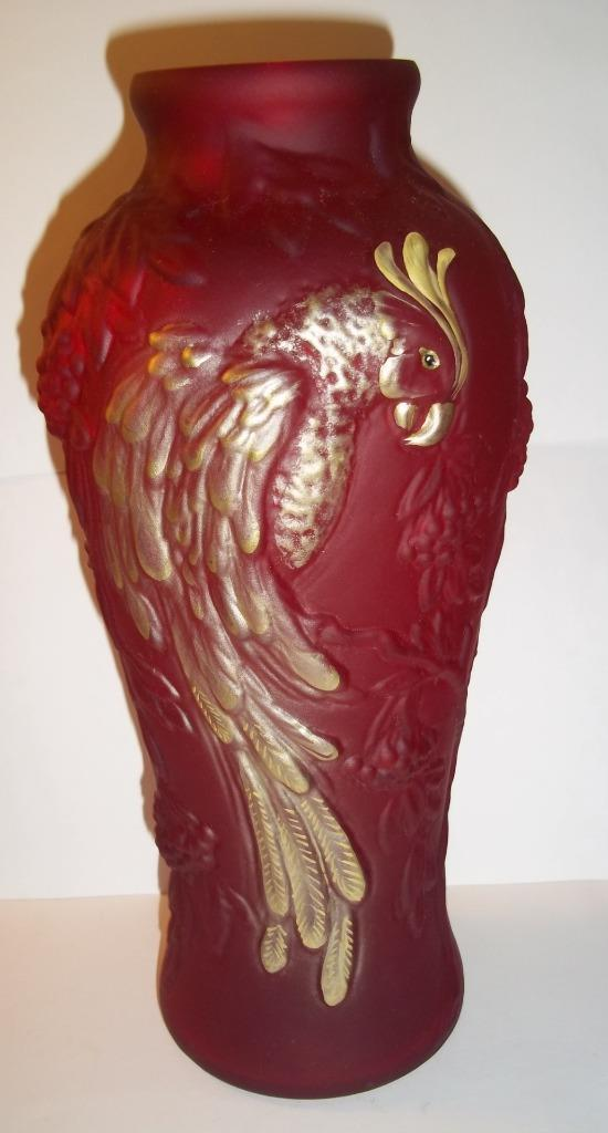 """Fenton Glass Ruby Red Satin Gold HP 12.5"""" Parrot Vase NFGS Exclusive 2011"""