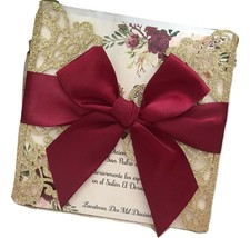 50pcs Glitter Gold Laser Cut Wedding Cards with Burgundy Red,Wedding Invitations - $77.80