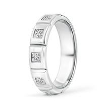 Five Stone Princess Cut Diamond Mens Wedding Band Ring 14k Gold - $1,383.86+