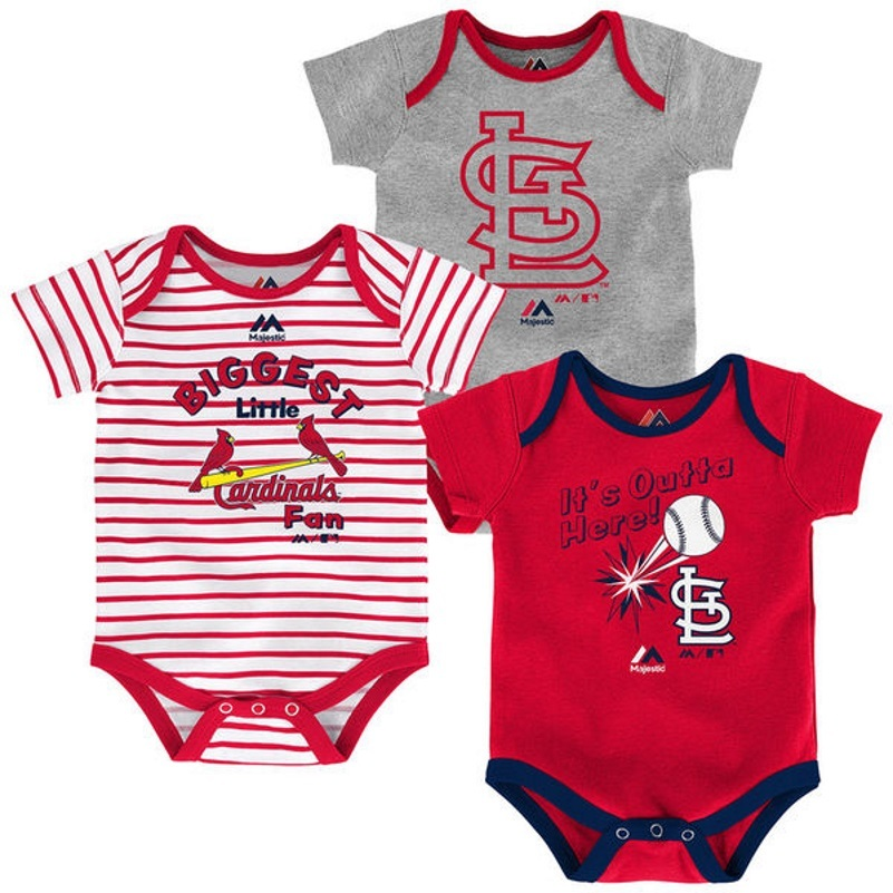 St. Louis Cardinals Infant Home Run Bodysuit 3-Piece Set MLB Baby Baseball