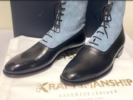 Handmade Men's Black & Grey Leather Suede High Ankle Lace Up Dress/Formal Boot image 1