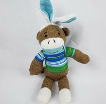 "Sock Monkey 12"" Plush Easter Bunny Rabbit Ears Striped Shirt Stuffed Ani... - $13.31"