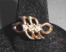 VTG Gold Tone Three CZ Cubic Zirconia Ring Size 8.25 - $5.94
