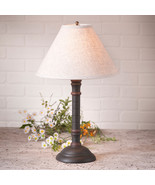 TABLE LAMP & IVORY FABRIC SHADE Distressed Black with Red Stripe Crackle... - $170.73