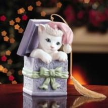 Lenox Kitten in a Box Xmas Tree Ornament-Hand Painted Porcelain Cat Figu... - $23.61