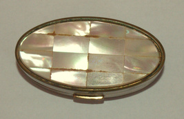 Vintage Max Factor Trinket Snuff Pill Lipstick Box Brass Mother of Pearl image 2
