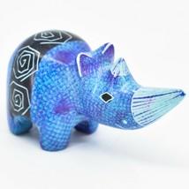Crafts Caravan Soapstone Purple & Blue Rhinoceros Rhino Figurine Made Kenya - $12.86