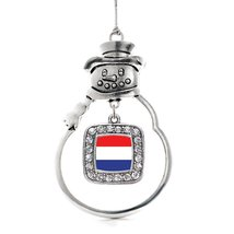 Inspired Silver Netherlands Flag Classic Snowman Holiday Decoration Christmas Tr - $14.69