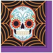 Creative Converting Day of the Dead Lunch Napkins, Black/Purple/Orange - £5.62 GBP