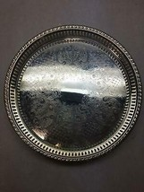 WS BLACKINTON Silver Plated SERVING Tray Pierced gallery ROUND Floral  S... - $45.43