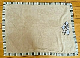 """Cocalo Baby Blanket Brown Striped Trim Airplane Clouds Clean Soft EUC 30"""" x 40"""" - $38.65"""
