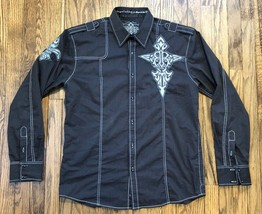 Roar Mens Embroidered Long Sleeve Button Front Shirt Size XL - $28.95