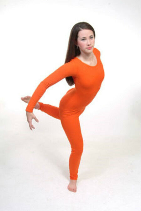 Primary image for Body Wrappers 217 Adult Size Large (10-12) Orange Full Body Long Sleeve Unitard