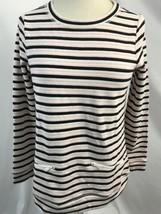 Talbots Rosa Blanco de Rayas Negras Sudadera Top, Mujer Talla P (Pequeño) - $19.94