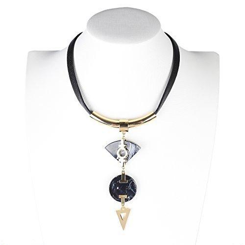 UE- Distinctive Gold Tone Designer Statement Choker Necklace - $32.99