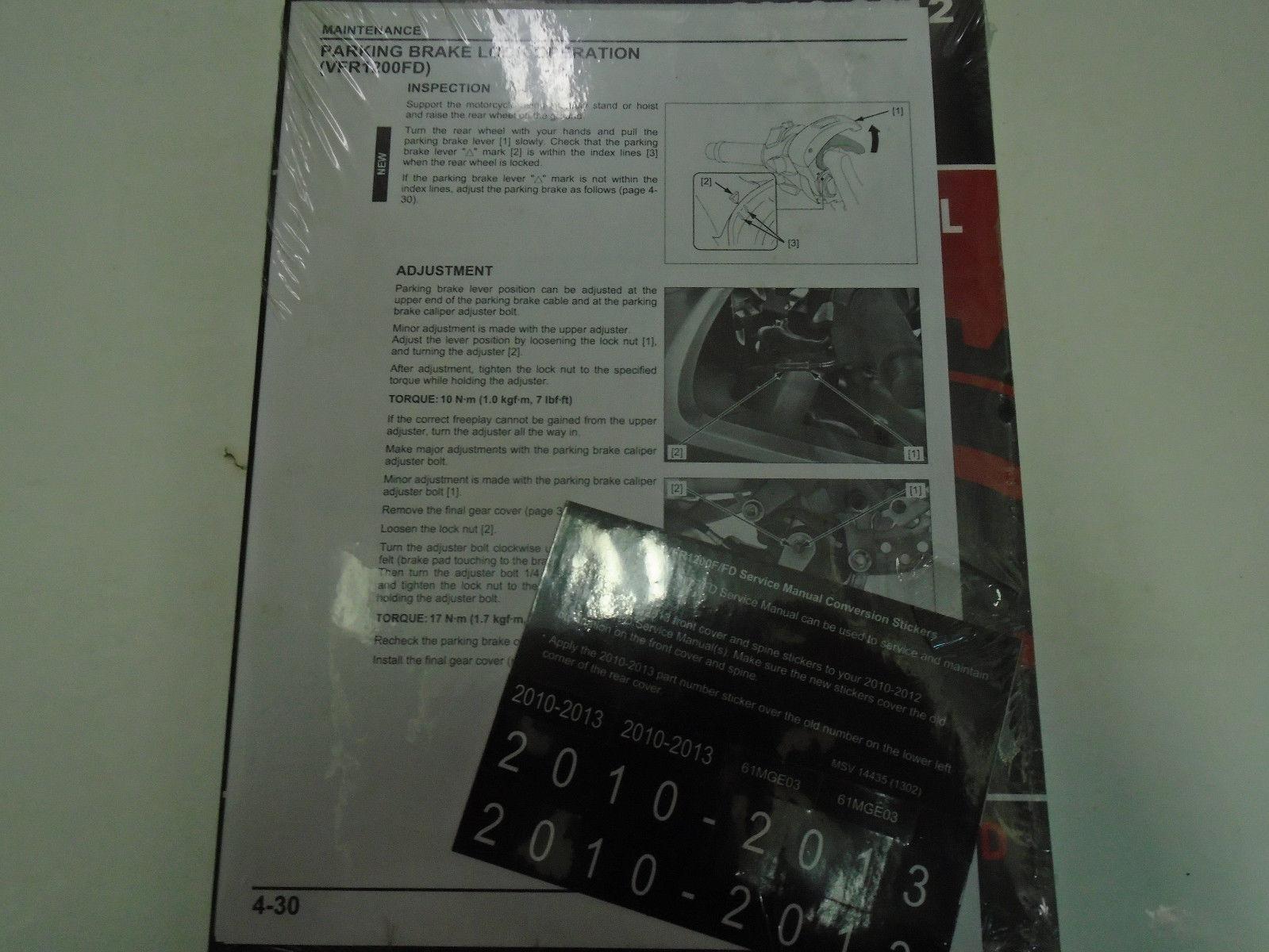 Manuals & Literature 2012 HONDA VFR1200F/FD VFR 1200 F Service ...