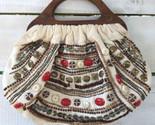 Boho Vtg Charlotte Russe Beaded Canvas Clutch Purse Handbag Wood Handles India