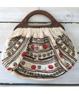 Boho Vtg Charlotte Russe Beaded Canvas Clutch Purse Handbag Wood Handles... - $18.42