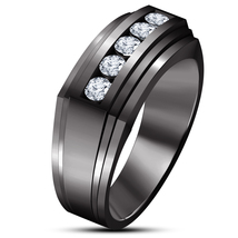 Mens Wedding Engagement Ring Band Sim Diamond 14k Black Gold Finish 925 Silver - £74.11 GBP