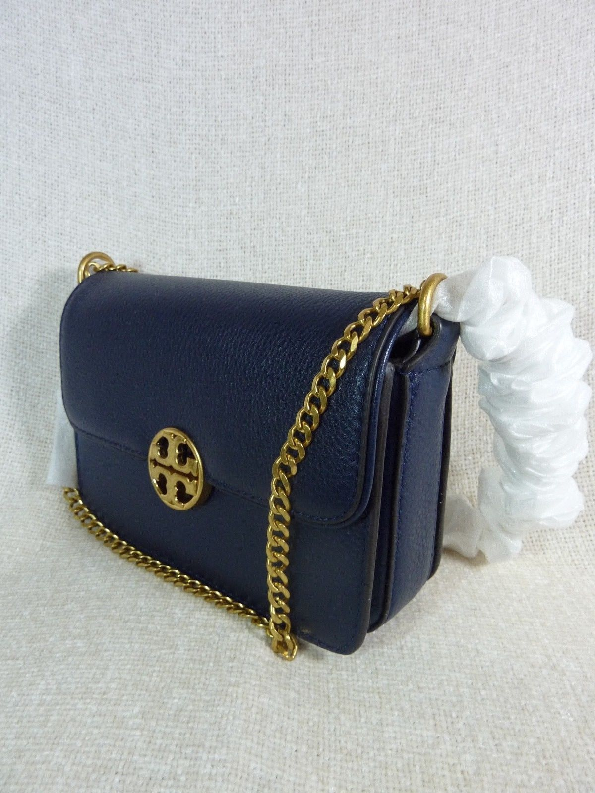 Neuf avec Étiquettes Tory Burch Marine Royale Chelsea Mini Sac Bandoulière image 2