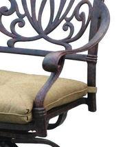 Patio bar stool set of 4 Elisabeth cast aluminum Outdoor swivel Barstools Bronze image 4