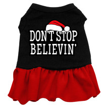 Don't Stop Believin' Screen Print Dress Black with Red Sm (10)  - $13.48