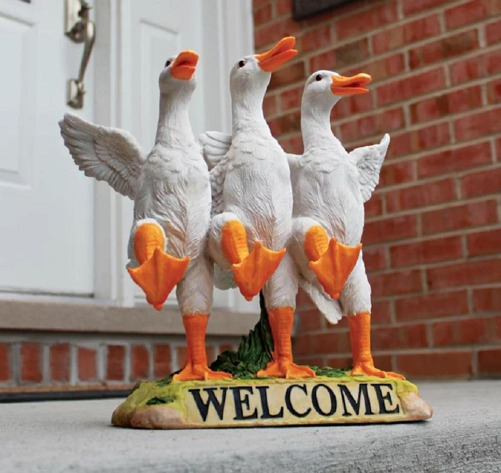 Dancing Ducks Lawn Ornament Duck Chorus Line Hand Painted Statue Outdoor Indoor