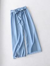 Dark Blue Denim Crop Wide Leg Pants Womens High Waisted Denim Palazzo Pants image 2