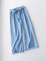 Dark Blue Denim Crop Wide Leg Pants Womens High Waisted Denim Palazzo Pants NWT image 2