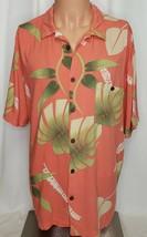 Joe Marlin Men's Hawaiian Aloha Camp Shirt XL Coral 100% Rayon Palm Leaves - $24.75
