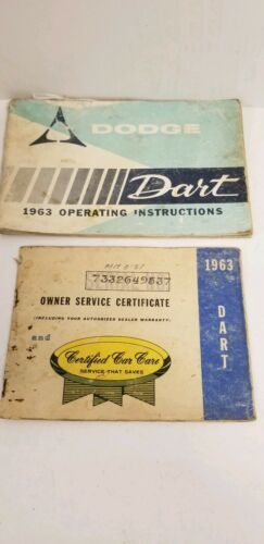 1963 Dodge Dart Owners Manual And Owners Service Certificate Book