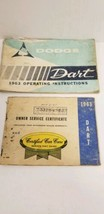 1963 Dodge Dart Owners Manual And Owners Service Certificate Book - $19.79