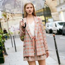 Amii Minimalist Tweed Two Pieces Set Autumn Office Lady Loose Lapel Blazer MIni  image 9