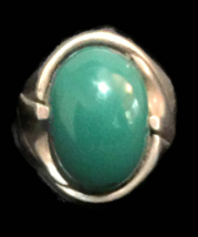 Vintage Green Chalcedony Sterling Silver Southwest Ring Size 8 Handmade ... - $58.00