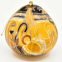 Handcrafted Carved Gourd Art Manger Nativity Christmas Ornament Made in Peru