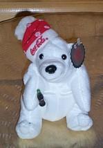 "Coca Cola 6"" Plush Polar Bear in Coke Red Snowflake PuffBall Cap Holds S... - $4.29"