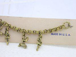 Vintage Gold Tone Ballerina Dancers Charm Bracelet New Old Stock image 4