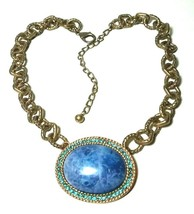 LARGE HEAVY BLUE GREEN RHINESTONE ANTIQUED GOLD TONE CHAIN - $40.00